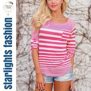 Pink White Striped Long Sleeve Top